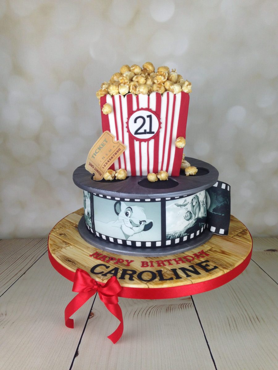 Film Reel And Popcorn 21st Birthday Cake