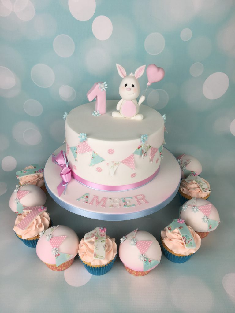 Bunny And Bunting 1st Birthday Cake