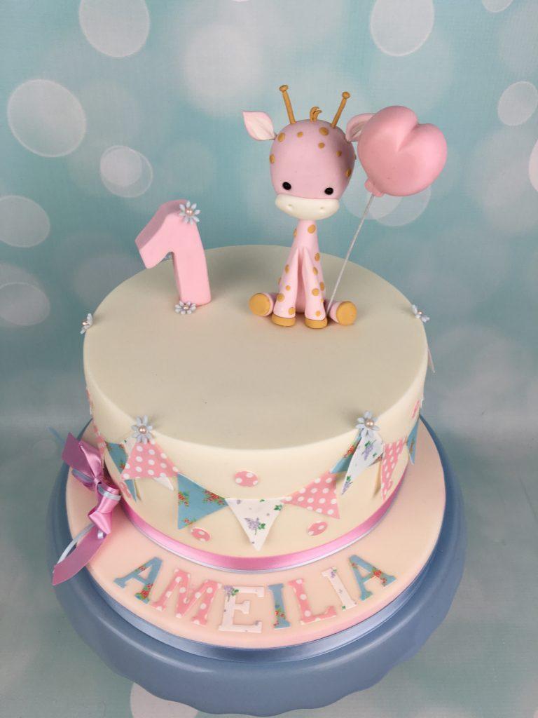 Baby Giraffe 1st Birthday Cake
