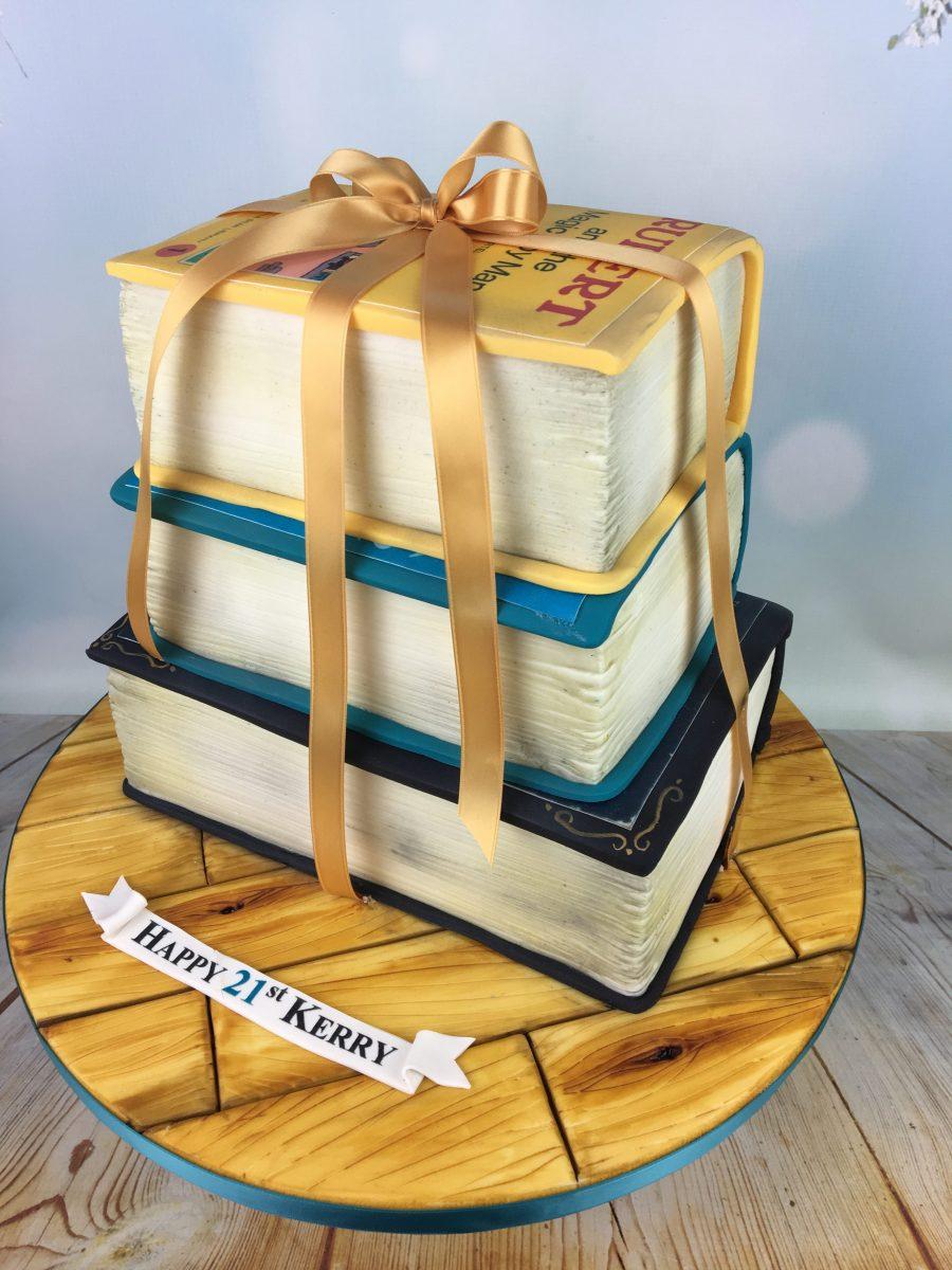 Stack Of Books Birthday Cake - Mel's Amazing Cakes