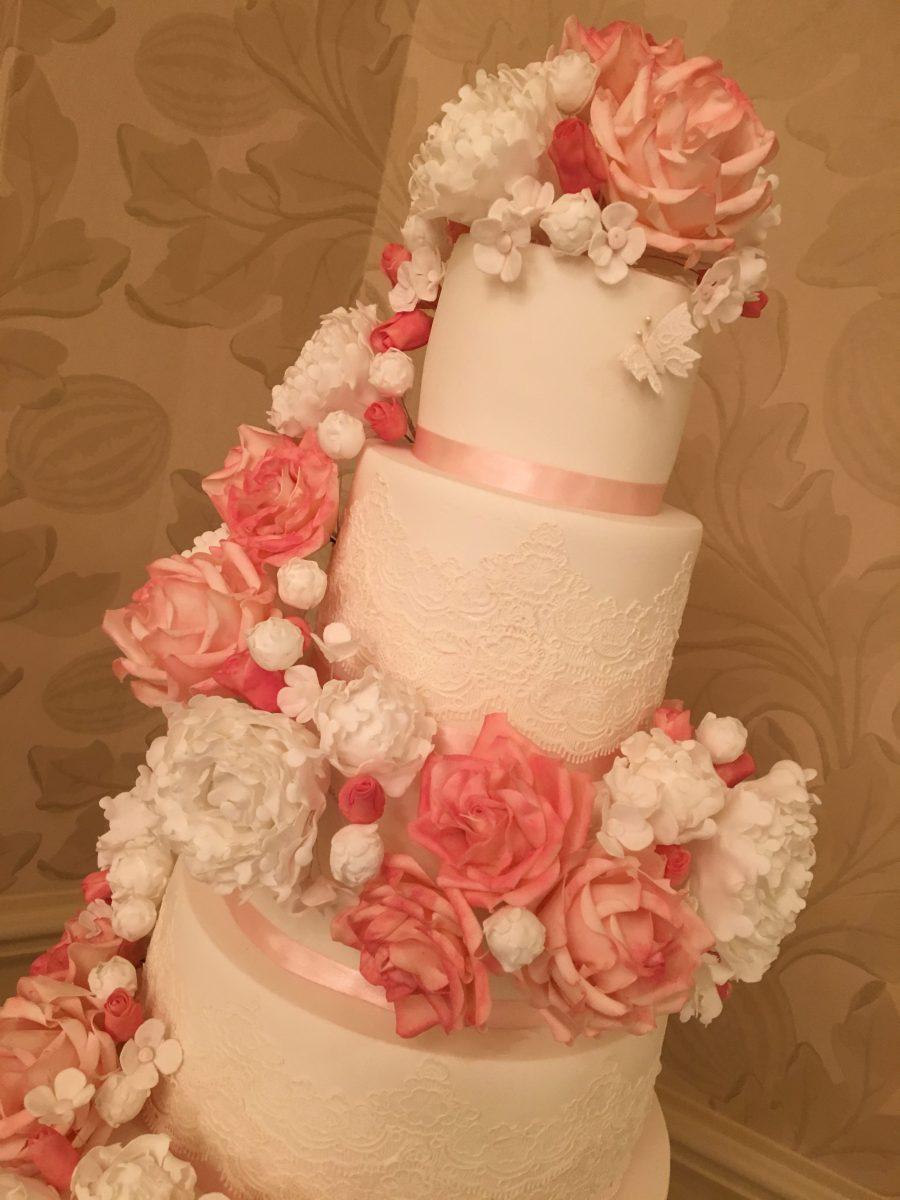 Floral swag Wedding cake - Mel\'s Amazing Cakes