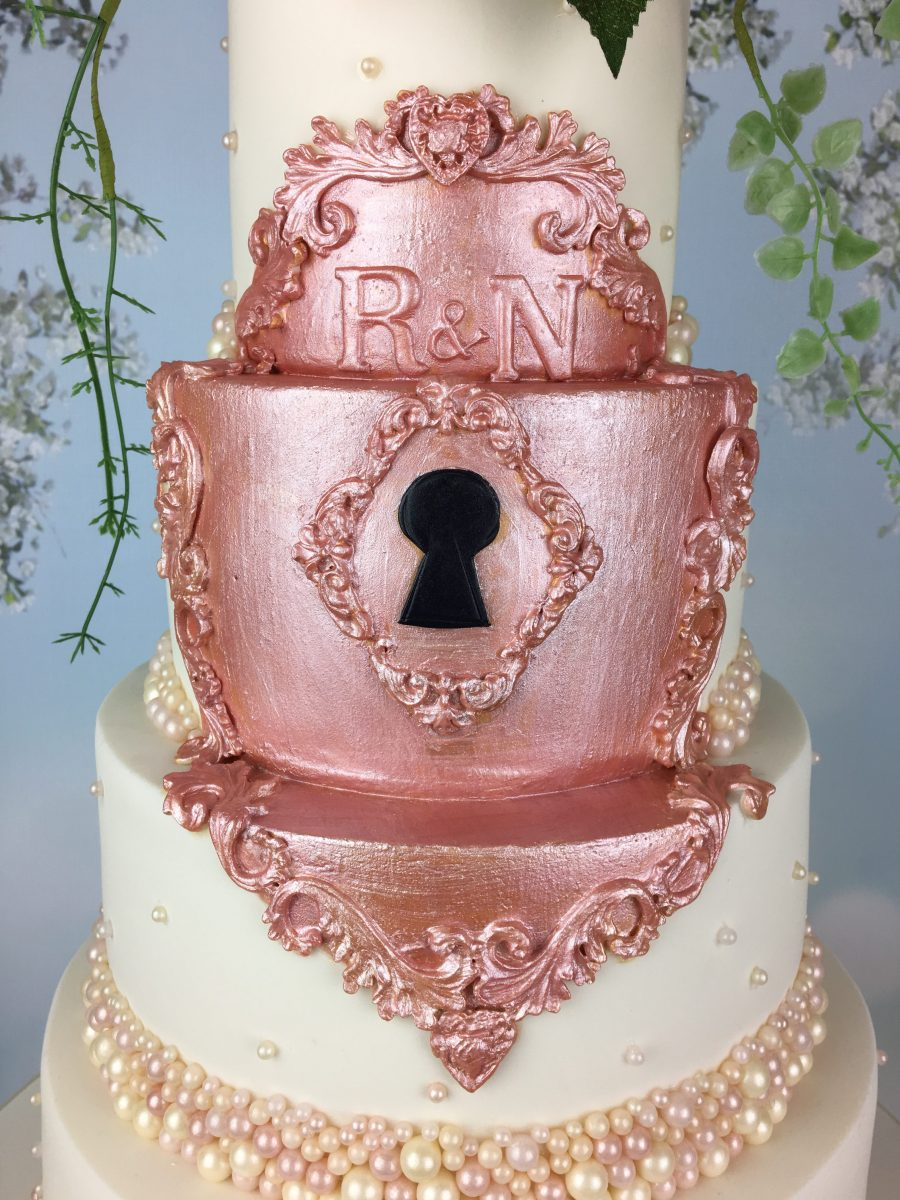 Fairytale Rose Gold Lock Wedding Cake - Mel\'s Amazing Cakes