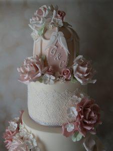 Pink And Grey Birdcage Wedding Cake
