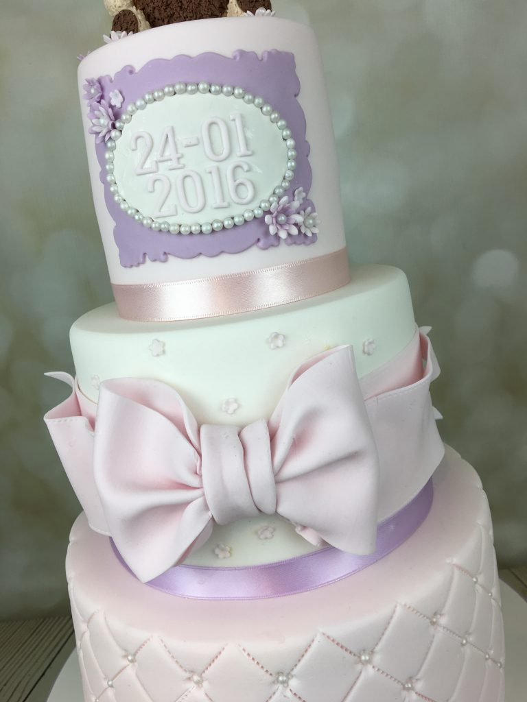 Christening Cake - Lilac and Pink With Teddy Bear Topper - Mel\'s ...