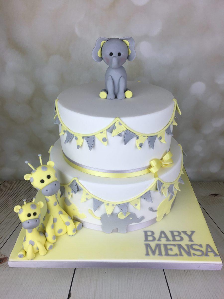 Lemon And Grey Christening Cake Mel S Amazing Cakes