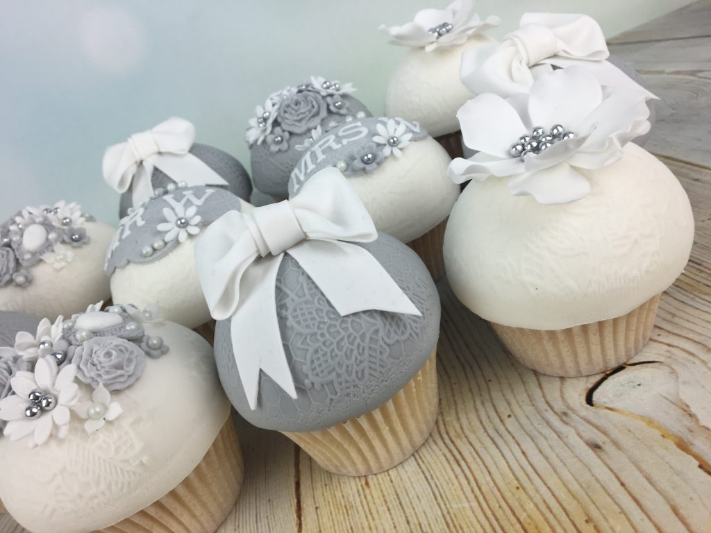 Elegant grey and white Wedding Day Cupcakes - Mel\'s Amazing Cakes
