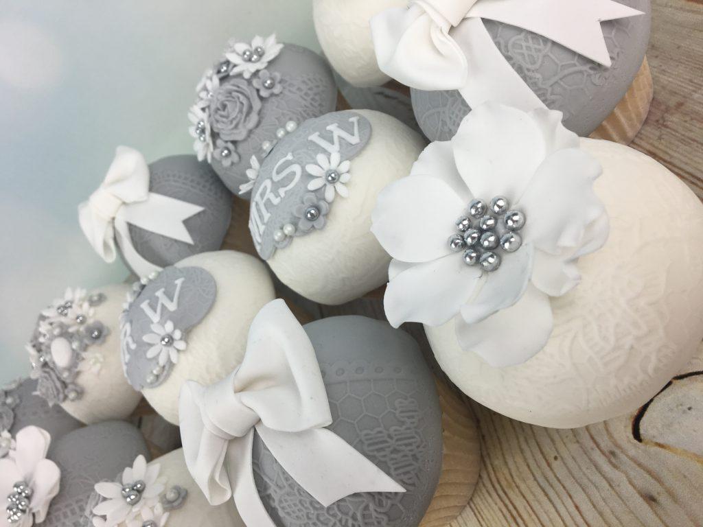 Elegant grey and white Wedding Day Cupcakes - Mel\'s Amazing Cakes