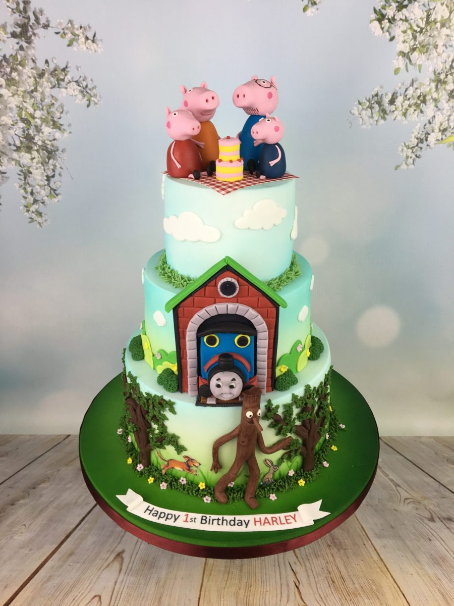 Peppa Pig Thomas and stick man birthday cake Mels Amazing Cakes