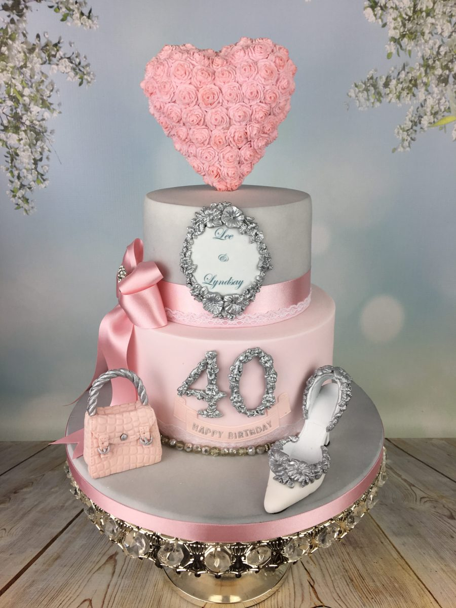 Engagement Birthday Cake In Silver And Pink Mel S