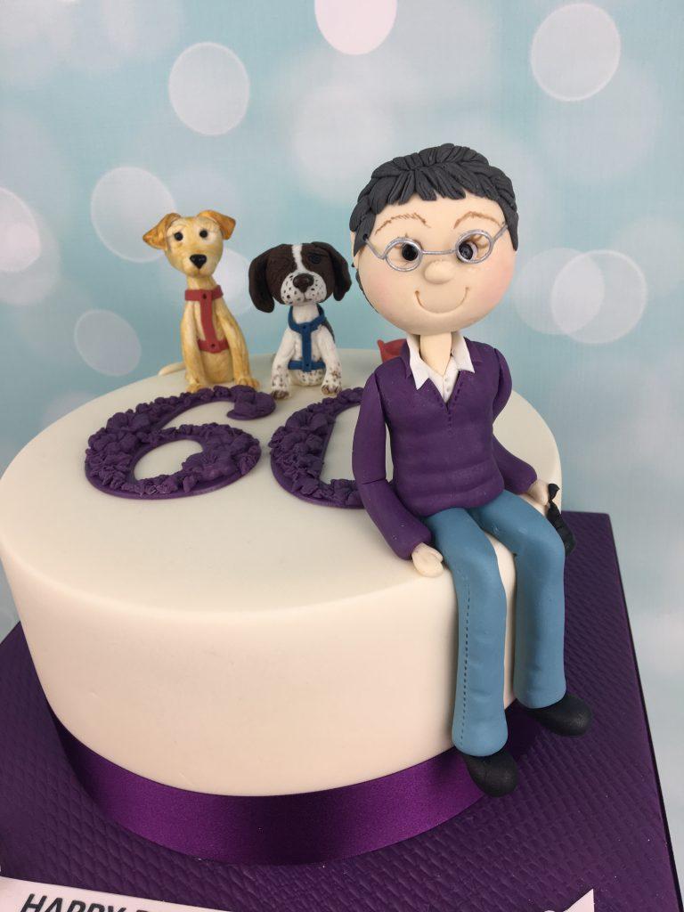 6oth Birthday Cake With Dog Cake Toppers Mel S Amazing Cakes